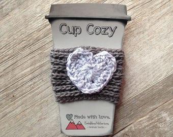 Crocheted Heart Coffee Cozy