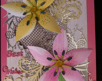 Best wishes card with lillies