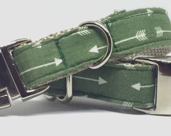 Dark Green, Arrow, Unique, Cool, Fabric, Cotton, Dog Collar, Metal Buckle, Adjustable, Masculine, For Boys, Gift for Him,
