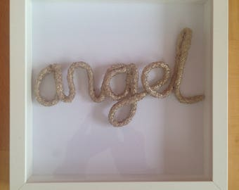 Gold Rope Art White Picture Frame - angel