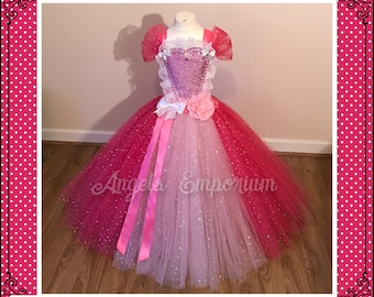 Pink Princess Tutu Dress. Sparkly Gown Party Dress Costume Dressing Up Fancy Dress. Pageant Dress Gala Ball Gown.