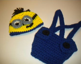 Hand Crochet Despicable Me Minion Baby Photo Prop Set with Hat & Diaper Cover Newborn to 24 Months Custom Orders
