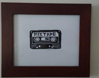 Handmade Mixetape linocut print