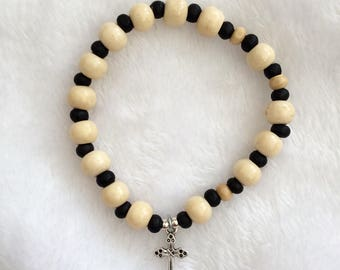 White OR Brown Rosary bracelet with wooden beads  and 'Tibetan silver' Crucifix (2 Colour options)