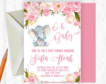 Elephant Baby Shower Invitation, Elephant Baby Girl Shower Invitation, Elephant Baby Shower, Watercolor Floral, Printable OR Printed