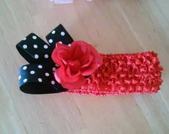 red and black baby crochet headband