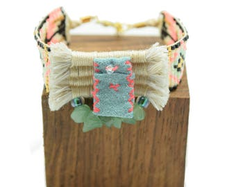 Tribal cuff - chic ethnic cuff - cuff woven - leather charm - cuff - Aventurine - cotton weaving turquoise beads