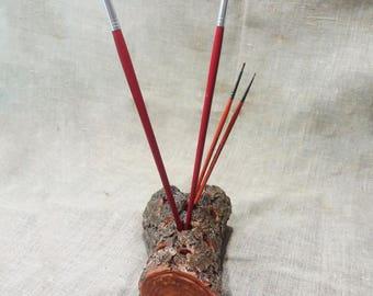 Wooden pen and pencil holder, wood desk organizer, desk storage, candle holder, rustic log pen holder, office accesories, teacher's gift