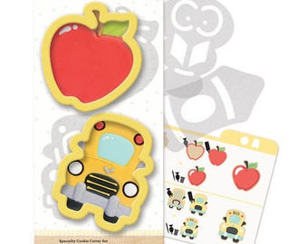 Sweet Sugarbelle Back to School Cookie Cutter Set, Cookie Cutter, Cookie Template