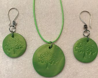 Tree of Life clay diffuser necklace and earrings set