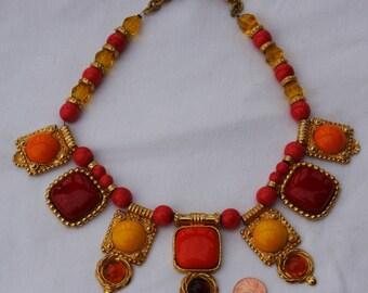 Vintage PHILIPPE FERRANDIS Runway Paris STATEMENT Necklace Designer Signed