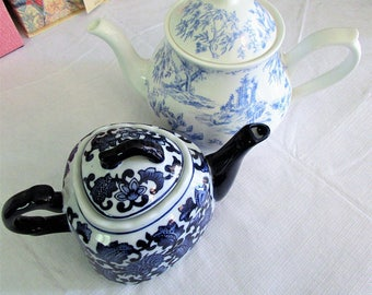 SOLD SEPARATELY, Blue China Teapots, Floral China, Vintage Large Teapot, Vintage Small Teapot, Vintage China