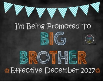 Promoted to Big Brother Sign, Big Brother Announcement, Big Brother, Pregnancy Announcement, Chalkboard