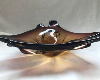 Triangle Vintage Art Glass Dish