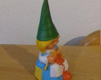 """Gnomes collection, """"the secret book of Gnomes,"""" GNOME statuette, hard rubber, GNOME figurine vintage, ' 80, Roro knitting"""