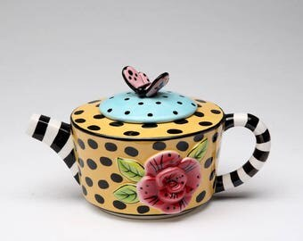Butterfly Teapot - Leopard Print with Butterfly