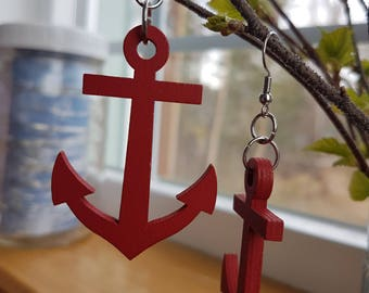 Red wooden anchor earrings