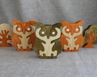 Wooden Owl Puzzle, Animal Puzzle, Children's Puzzle, Wooden Puzzle, Children's Toy, Baby Shower Gift