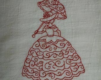 Victorian Lady Swirls - Embroidered Flour Sack Towel