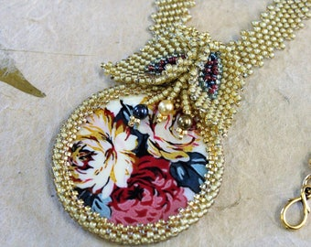 Beaded flower necklace.