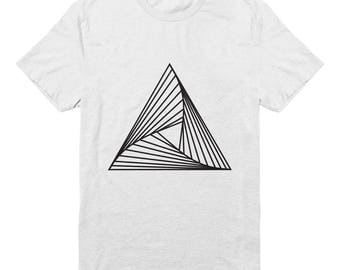 Minimalist geometric triangle design T-shirt made out of organic cotton