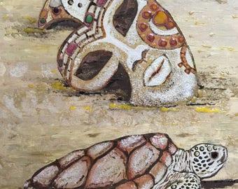 Original Artwork, acrylic on canvas board, framed.