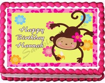 HAPPY MONKEY edible cake topper party image
