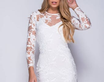 White Floral Bodycon dress