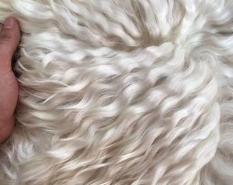 Eco natural white goatskin rug  throw angora mohair locks