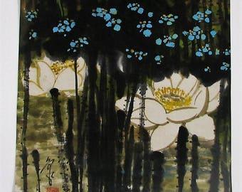 Techniques mixtes sur papier, Art Chinois. Fleurs de Lotus. Mixed media on paper. Lotus Flowers. Chinese art
