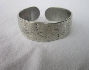 Vintage Designer Kirk Pewter Engraved Cuff Bracelet