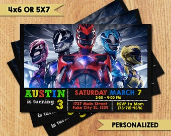 Power Rangers Invitation -Power Rangers Birthday Party Invitation -Power Rangers Printable Digital File-Power Rangers Invitation