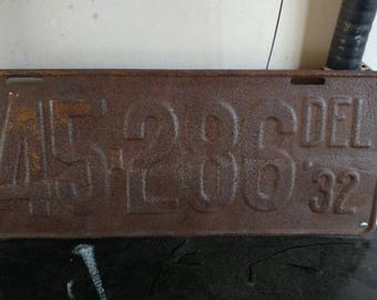 Delaware License Plate dated 1932