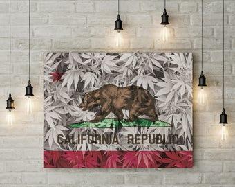Weed Leaf California Flag Canvas