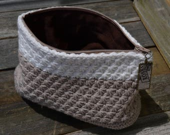 Tan/White Star Stitch Lined Pouch