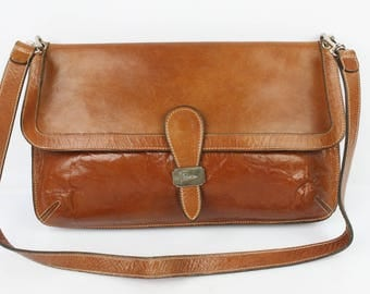 VINTAGE bag pouch AGOSTINO Cognac leather