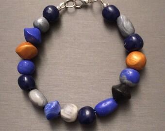 "Handmade polymer bead pretty  bracelet  8.5"""