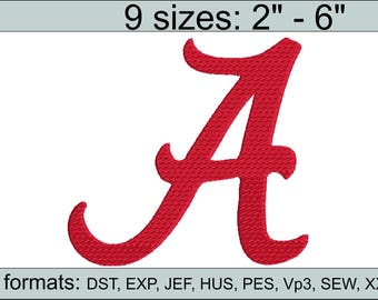 Alabama A embroidery design logo / embroidery designs / INSTANT download machine embroidery pattern