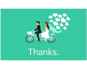 Wedding Thank You Couple on Bicycle