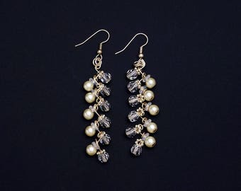 Pearl and Crystal Wire Wrapped Earrings