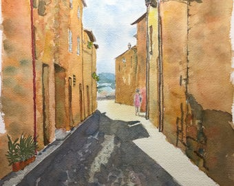 A street in Orvieto, Umbria, watercolour