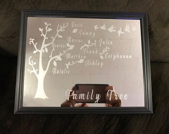 Custom made family tree etched into a mirror