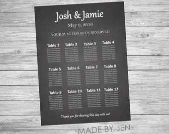 Wedding Seating Chart, Chalkboard, Size CUSTOM