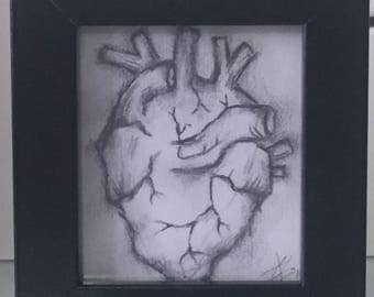 Original pencil heart drawing