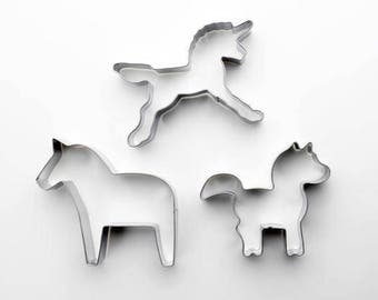 3pcs/Set Animal Cookie Cutter - Unicorn/ Pony/ Horse - Fondant Biscuit Mold - Pastry Baking Tool Set