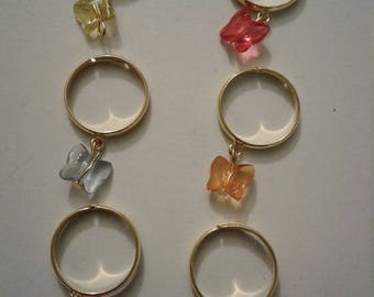 Rings set butterfly charm