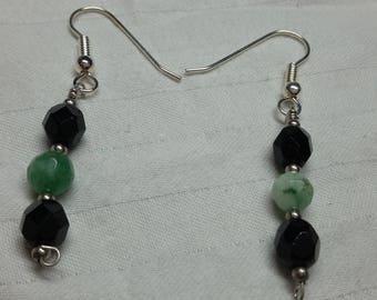 Jade, Black ans Silver Earrings