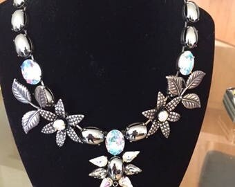 ZOE COSTE France Vintage Haute Couture Hematite and Crystal Necklace