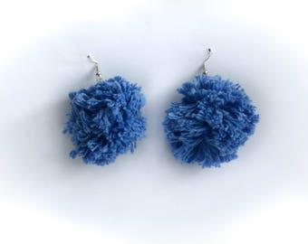 Blue Yarn Pom Pom Earrings