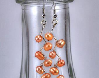 Peach Colored Fresh Water Pearl Angled Drop BoHo Earrings